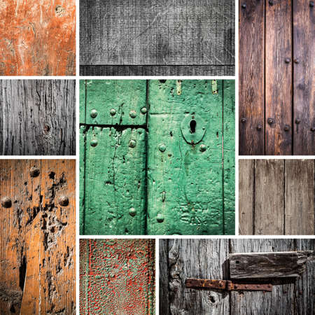 square composition: Grunge wood collage square composition. Stock Photo