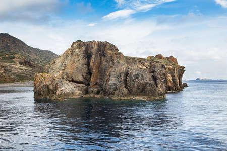 panarea: Typical coast landscape of Panarea. Aeolian islands, sicily. Italy.