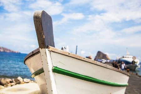 panarea: Typical fisher boat in Panarea, Aeolian islands, Sicily.
