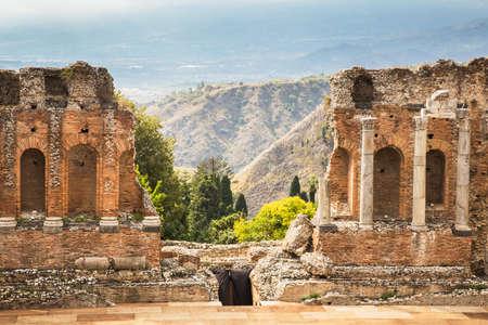 taormina: Historic teather of Taormina. Sicily, Italy. Editorial
