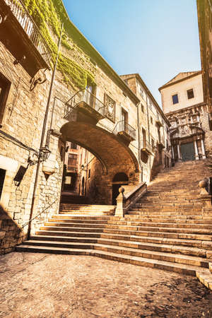 jewish houses: Picturesque old quarter streets of Girona, Costa Brava.