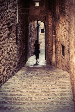 jewish: Girona jewish neighborhood, Spain. Stock Photo
