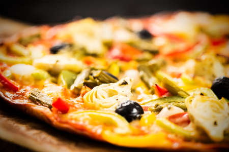 Detail of healthy vegetables pizza. Stock Photo
