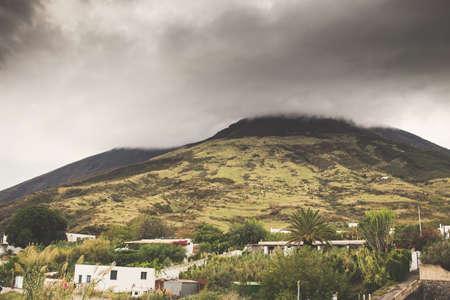 erupt: Sciara del fuoco in Stromboli  volcano island, Sicily, Italy.