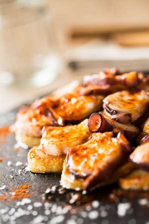 galician: Delicious galician octopus: Pulpo a Feira. Typical spanish tapas.