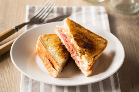toasted sandwich: Typical toasted sandwich with cheese and pork ham.