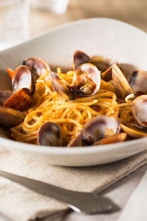 yegua: Espagueti delicioso con frutti di mare.