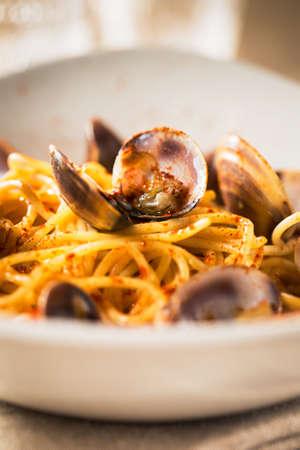 mare: Delicious spaghetti with frutti di mare. Stock Photo