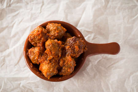 spanish tapas: Meatballs with tomato spanish tapas, top view. Stock Photo