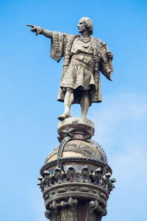 cristobal colon: Cristobal Colon sculpture in Barcelona, pointing to the sky.