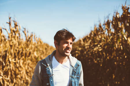 brunets: Young bearded man standing in the middle of cornfield, looking away Stock Photo
