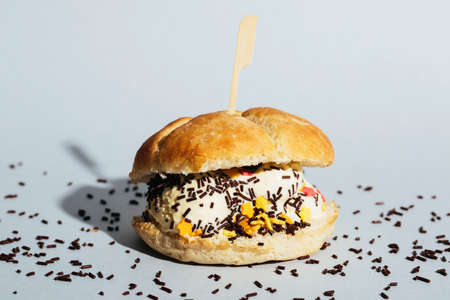 wierd: Wierd burger with vanilla ice cream and chocolated confetti on blue background.