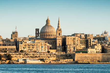 Landscape of La Valetta in sunlight with clear sky. Malta.