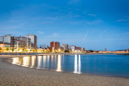 Night landscape of Calonge beach, Spain.