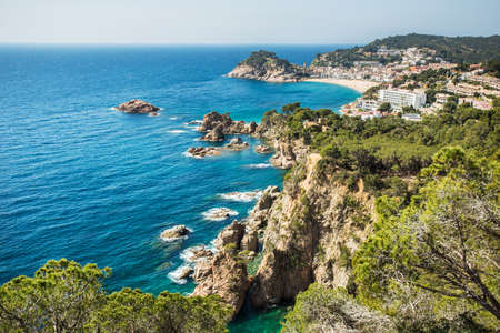 Aerial landscape of Tossa de Mar in Costa Brava. Spain.