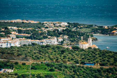 Aerial view from the mountain of Cadaques. Spain. Stock Photo