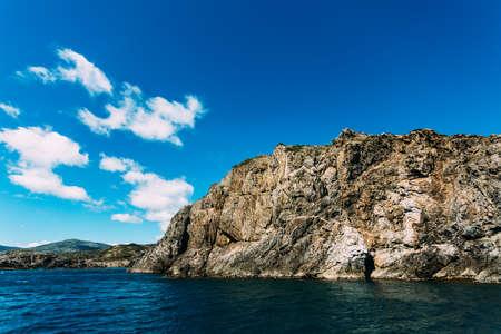 Cap de Creus coast landscape from the sea. Spain.