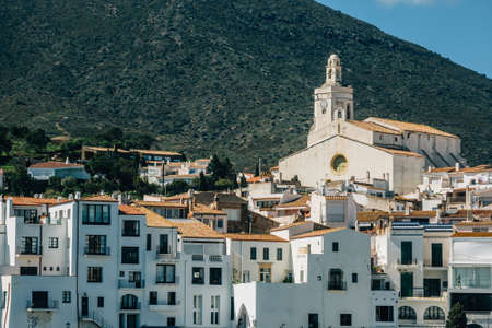 Detail landscape of Cadaques from the sea in a sunny day. Spain.