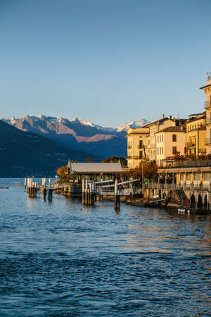 Great sunset in Bellagio Lake. Vertical copy space. Stock Photo