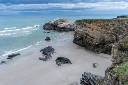 Famous beach of Playa de Las Catedrales in Ribadeo. Galicia, Spain.