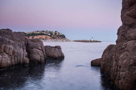 Night landscape of Sant Feliu de Guixols bay in Costa Brava, Spain. Archivio Fotografico