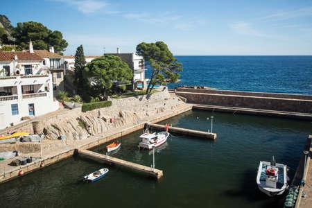 Landscape of Fornells harbor in Costa Brava, Spain. Archivio Fotografico