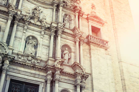 Detail of the great facade of Girona Cathedral, Spain. Archivio Fotografico