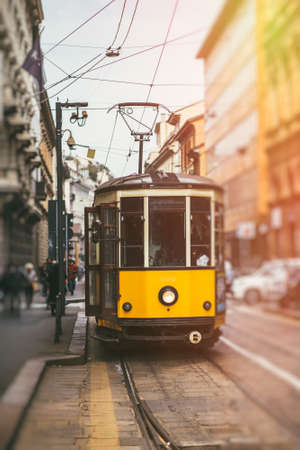 Traditional cable car in Milan streets, Italy.