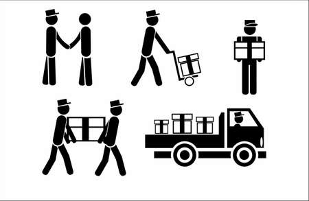 vector icons of movers, courier delivery service