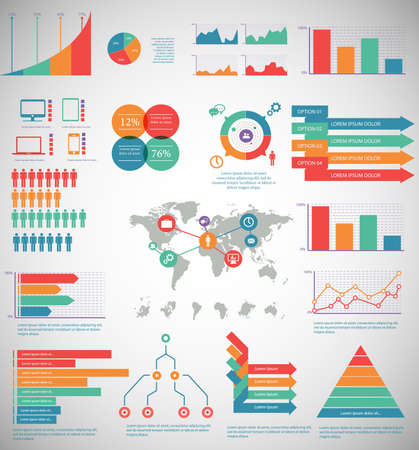 Infographic Elements - process infographics, steps and options, circle diagram, workflow diagrams, timeline infographics