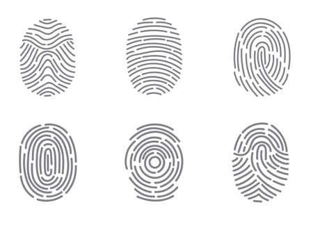 investigating: Fingerprint twisted lines isolated on white. Black dactylogram personal identity code.