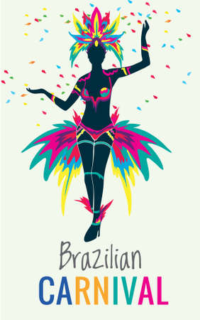 Beautiful Brazilian woman of African descent wearing colorful costume and smiling during Carnaval 2016 street parade in Rio de Janeiro, Brazil. Ilustrace