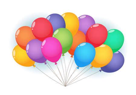 Balloons cloud and birds on sunny sky. Ilustração