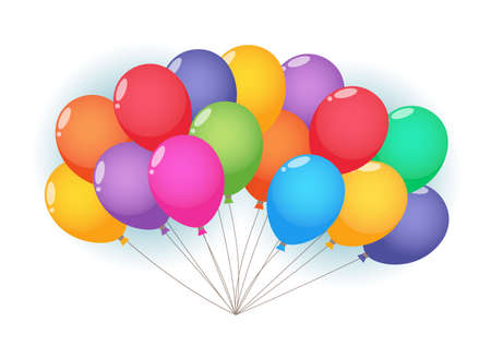 Balloons cloud and birds on sunny sky. Ilustrace