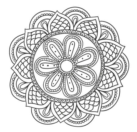 Coloring book page with mandala outline.