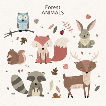Woodland tribal animals cute forest and nature design elements.