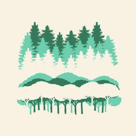 Forest trees at Thetford UK on white background Ilustrace