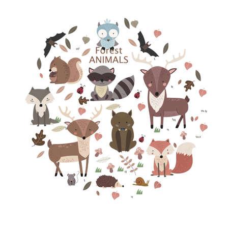 Cartoon Forest Animals Pack. Cute Animal Vector Set. Bear, Fox, Wolf, Hedgehog, Beaver, Moose, Hare, Deer Ilustração