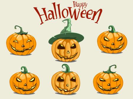 Set pumpkins for Halloween. Set of spooky halloween jack o lanterns. Halloween pumpkin orange scary holiday jack o lanterns symbo