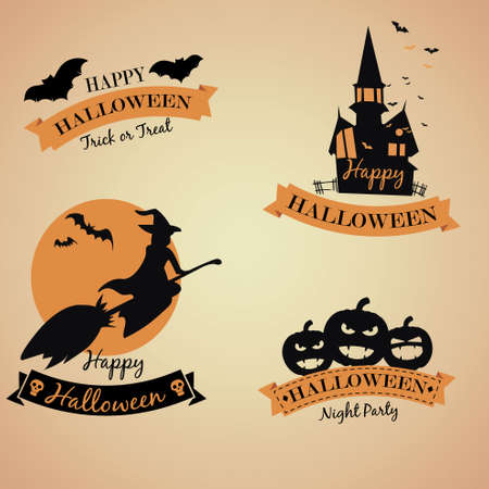 Halloween party banner with halloween elements and place for text. Halloween castle silhouette at night landscape