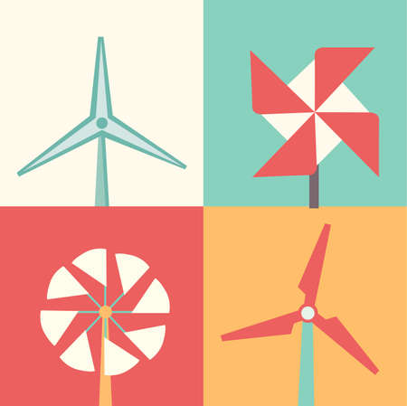 Rural windmills set. Collection of traditional windmills vector illustration isolated on a white background