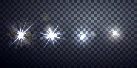 Light effects, realistic lighting effect, light glow effect, vector glow luminescence for design, Ilustração