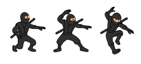 Cute cartoon ninja vector illustration. Kicking and jumping ninjas isolated on white background. Warrior action in fighting