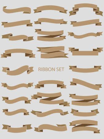 Ribbon vector banners set. Ribbon label glossy, ribbon curled tag, waving ribbon