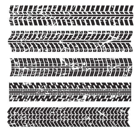 Vector illustration of tire marks isolated on white background. Ilustrace