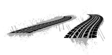 Vector illustration of tire marks on white background.