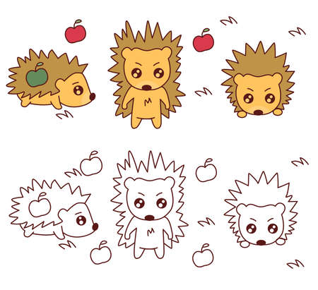 set of hedgehogs and apples