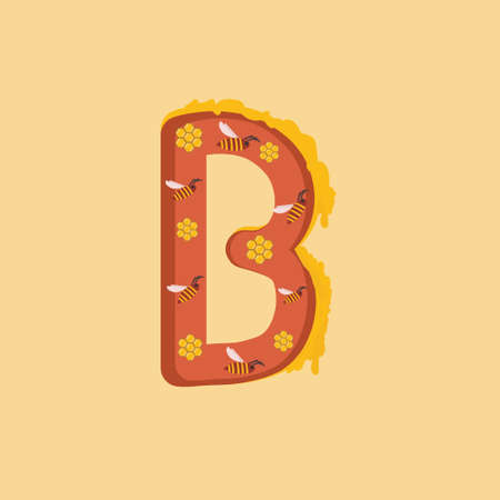 Letter B with bees and honey for children's literature, print, typography, design element, logo