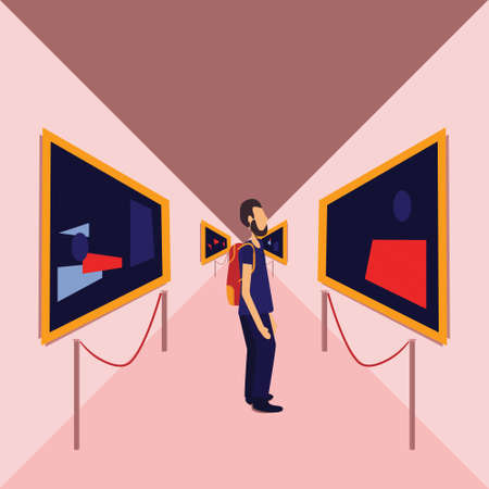 Man examines a picture in art museums, vector illustration