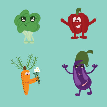 Collection of funny vegetables, broccoli, peppers, eggplant, carrots.